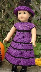 Free crochet pattern. Pattern category: Doll Clothes American Girl Doll. Fingering weight yarn. 150-300 yrds. Features: Filet, Lace, Round Yoke, Stripes. Easy difficulty level.