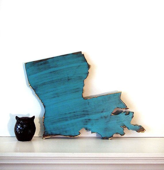 Louisiana State In 2ft Size Teal Pine Wood Sign by ThePineNuts
