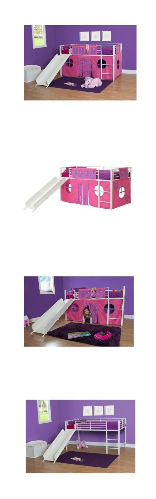 Kids Furniture: Twin Loft Bed With Slide Curtain Set Bonus Ladder White Kids Girl Bedroom New BUY IT NOW ONLY: $249.99