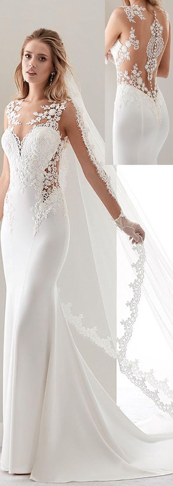 Fashionable Tulle & Acetate Satin Jewel Neckline Sheath Wedding Dresses With Lace Appliques