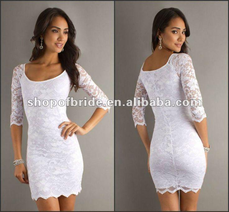 estilo corto de encaje blanco vestido de cóctel-