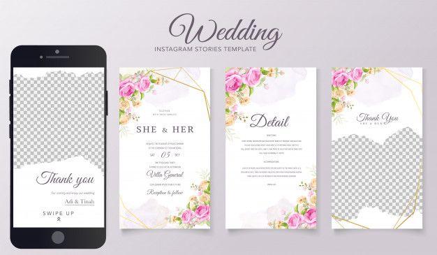 Wedding Instagram Stories Template In 2020 Floral Wedding Invitation Card Elegant Wedding Invitation Card Vintage Wedding Stationery