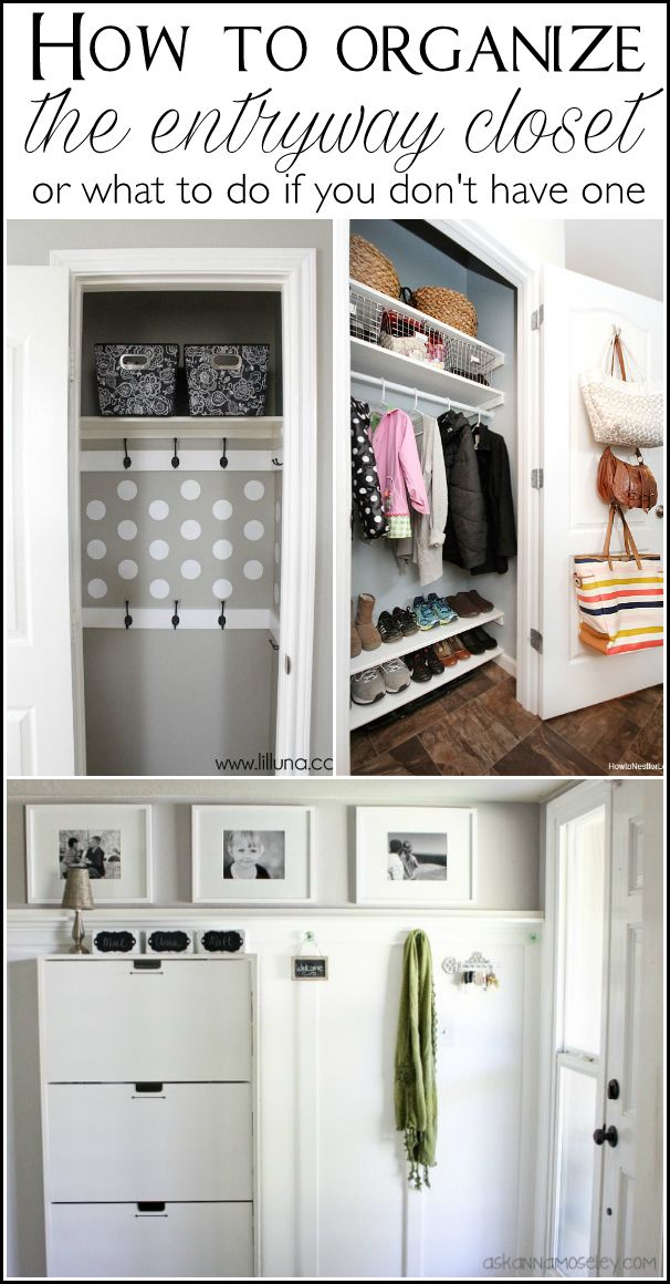 Lots of tips to help you organize the entryway closet, or what to do if you don't have one! In just 30 minutes your closet will be cleaned out and functioning the way you need it to.