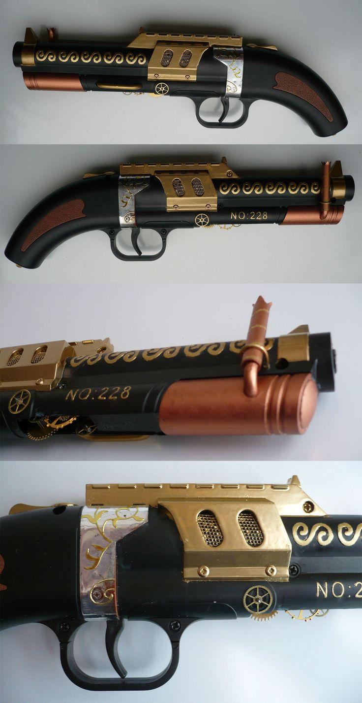 Steampunk no.228 Steam-pistol serial no. 001_01 by Arsenal-Best.deviantart.com on @deviantART