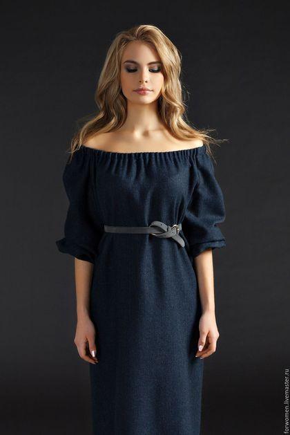 Maxi dress / Платья ручной работы. Ярмарка Мастеров - ручная работа. Купить Шерстяной сарафан длинный, темно-синий. Handmade. Тёмно-синий