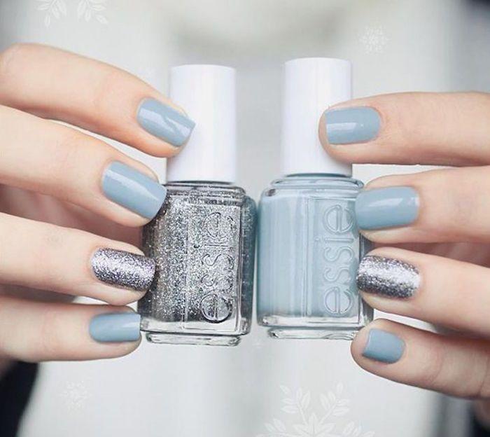 Stylish blue nail color idea; Nails: Essie via Mon Cheri Bridals