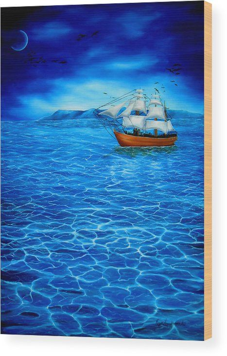 Wood Print,  nautical,seascape,sailboat,marine,sea,ocean,water,wooden,night,dark,moonlight,calm,blue,beautiful,image,fine,oil,painting,contemporary,scenic,modern,virtual,deviant,wall,art,awesome,cool,artistic,artwork,for,sale,home,office,decor,decoration,decorative,items,ideas