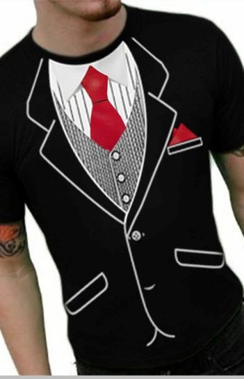 Tuxedo T-Shirts - Mens Classic Tuxedo T-Shirt With Red Tie