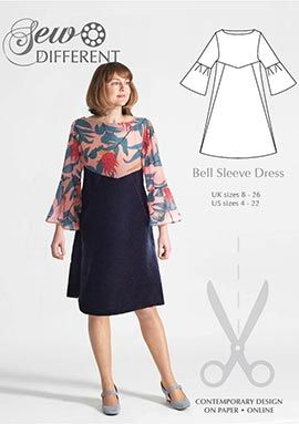 Bell Sleeve Dress sewing pattern for women from Sew Different. On paper or to download in sizes UK 8-26