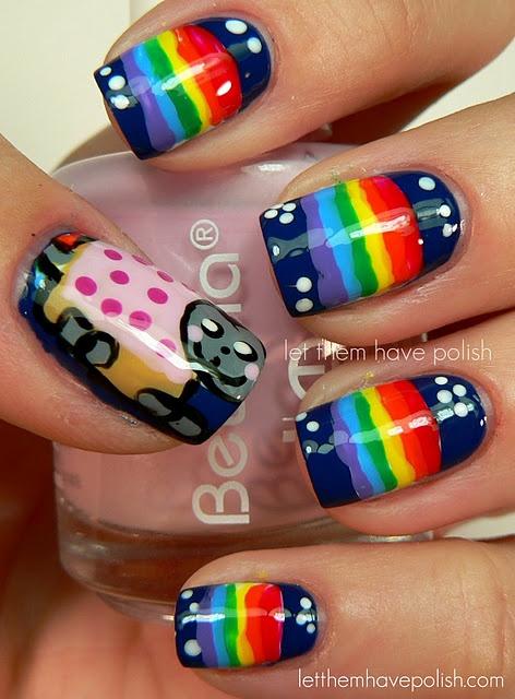 Nyan cat!Challenges, Nails Polish Art, Nails Art, Nails Design, Nyan Nails, Pop Tarts, Nyan Cat, Nyancat, Cat Nails
