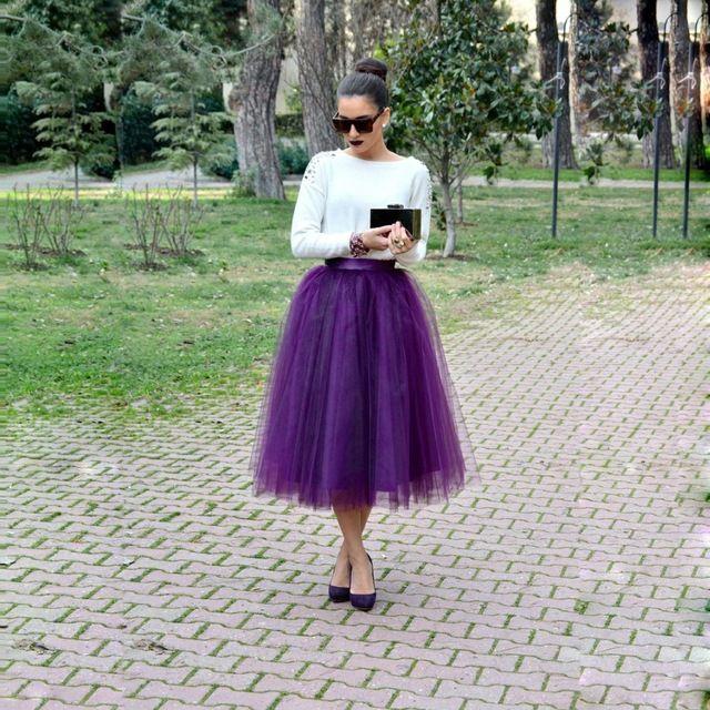 Тихоня фиолетовый женщины тюль юбка чай длина пять слоев тюль одно подкладка 28 цветов вуаль тюль юбка начес паффи мода юбка