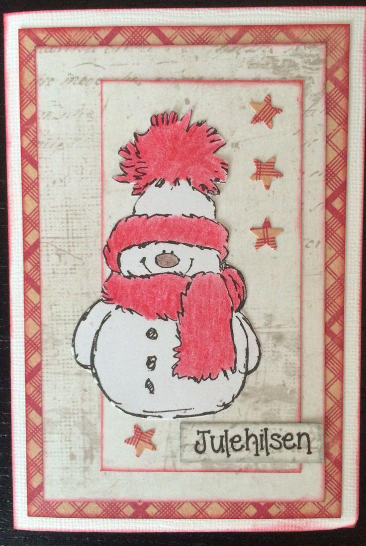 Julekort med stempel fra Penny black og mønsterpapir fra  blant annet maja design