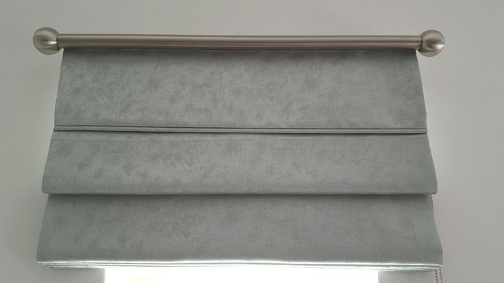 Duck egg Roman blind with stainless steel pole