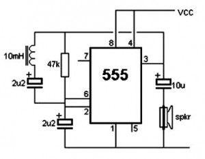 Simples Circuito Detector de Metal com IC 555
