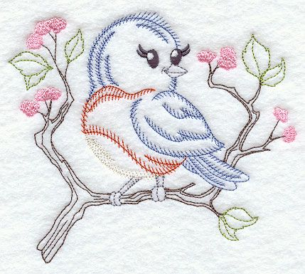 Vintage Embroidery Designs | This vintage-style bird will be adorable on shirts, quilts, tea towels ...