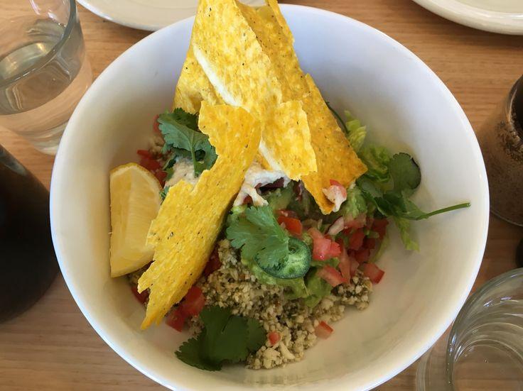 Raw burrito bowl with cauliflower rice, avocado, pico de gallo, 38C cornchips and cashew sour cream @Barry, Westgarth
