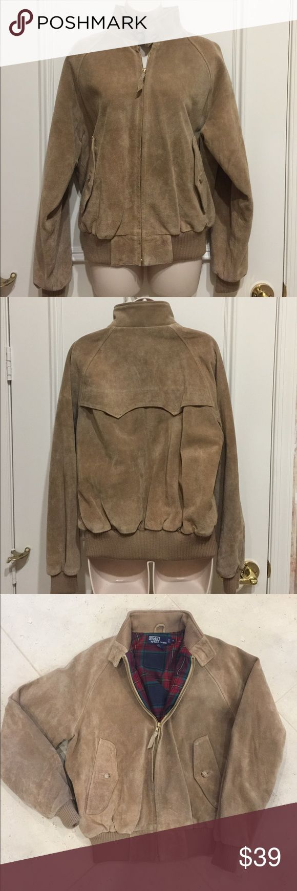 Vintage 80s, 90s Polo by Ralph Lauren Suede Jacket Polo by Ralph Lauren Tan Suede Zip Up Jacket with plaid lining, and slight elasticity around waist and arms to provide insulation and warmth. Size Medium. Polo by Ralph Lauren Jackets & Coats