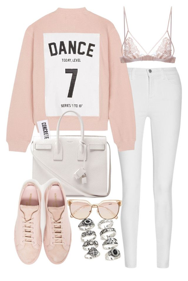 """Untitled #2118"" by eleanorwearsthat ❤ liked on Polyvore featuring J Brand, Studio Concrete, Chloé, Yves Saint Laurent, Common Projects, Fleur of England and Forever 21"