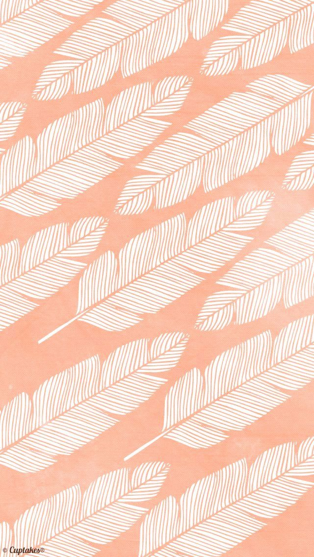 Peach Coral Leaves iPhone Wallpaper