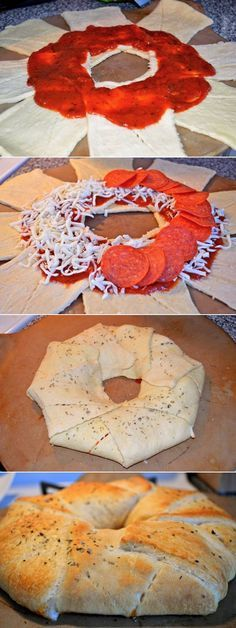 Pizza Ring made with Pillsbury Crescent Roll dough. Great appetizer for any party! And especially easy-looking to make if you're the hostess.