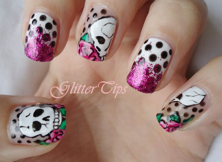 Skull nail designs - 93 Best Nails Images On Pinterest Skull Nails, Make Up And Red
