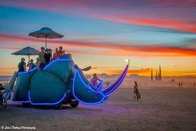 Lumo Rhino at sunset - Tankwa, South Africa. Sean Furlong Photography: AfrikaBurn 2014