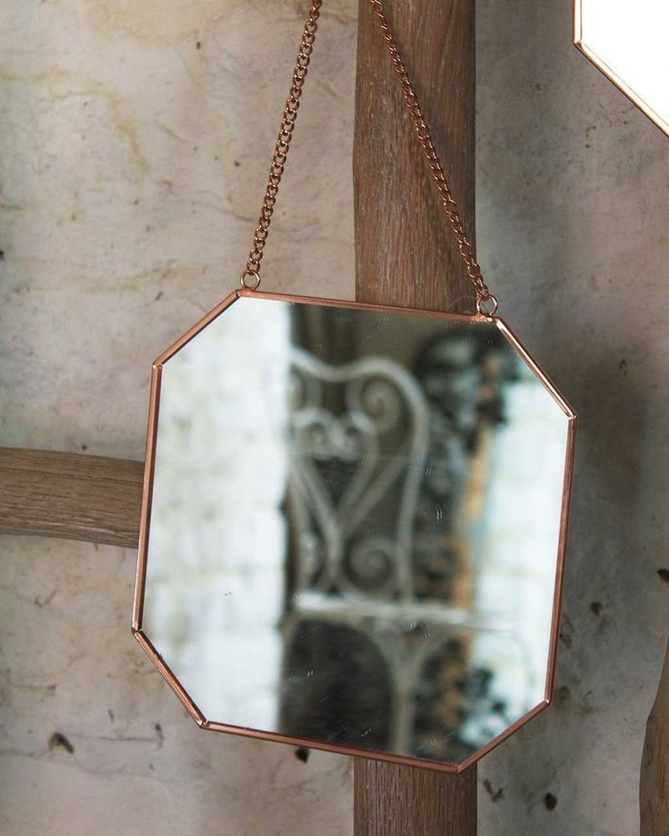 Hanging Mirror on Chain with Octagon Shaped Copper Frame, Small
