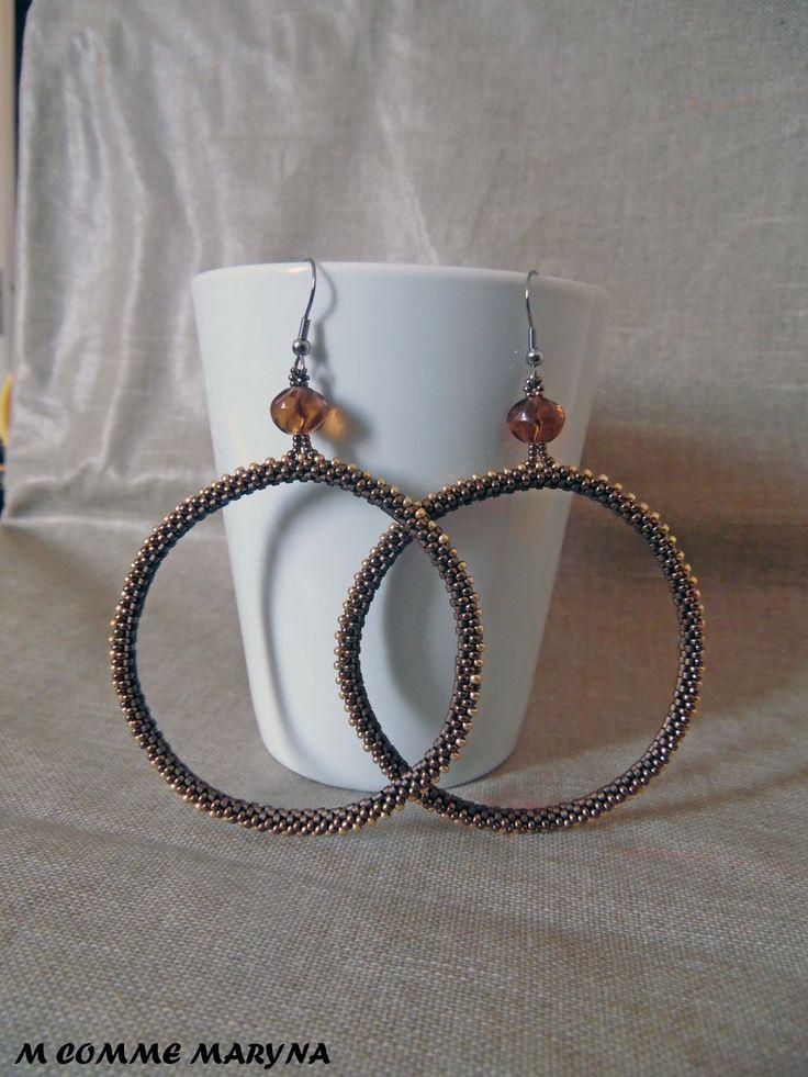Grandes créoles originales boho chic tissées tube en perles Miyuki Bronze et doré Bohemian Bohostyle : Boucles d'oreille par m-comme-maryna