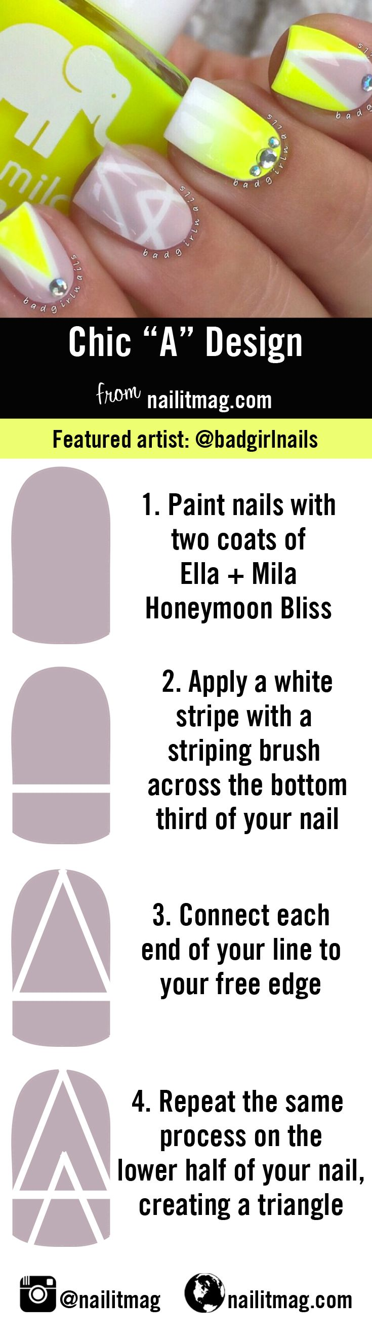 5 easy nail designs made of just straight lines  @badgirlnails