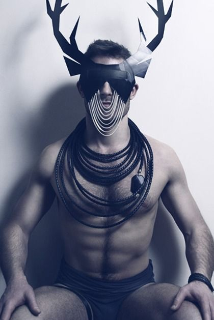 Man In Leather And An Antler Mask What More To Be Asked