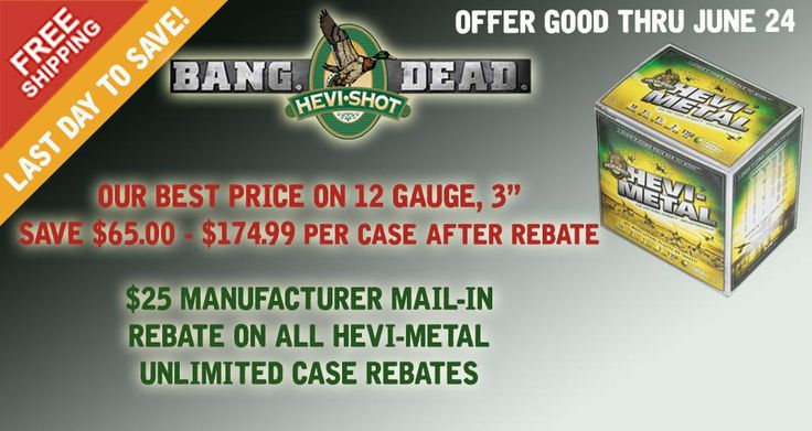 """Our lowest price on Hevi-Metal 12 Gauge 3"""" shells. $174.99 delivered after manufacturers mail-in rebate."""
