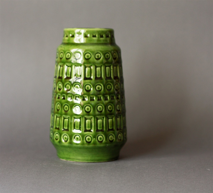 West German Pottery Scheurich Inka Vase in Olive Green. via Etsy.