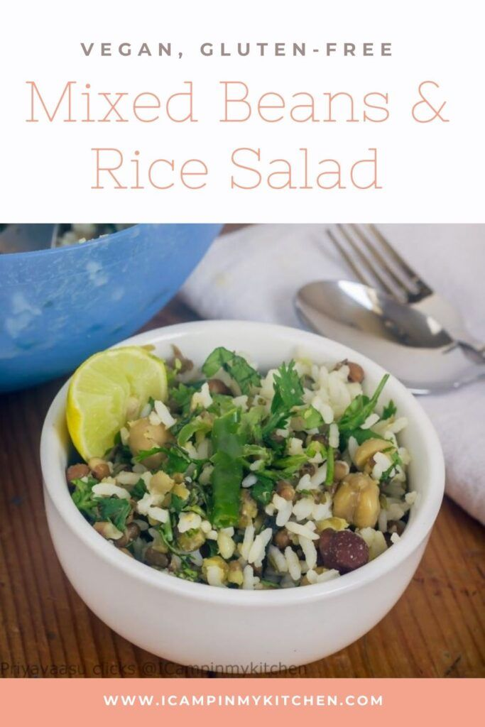 Mixed beans and rice salad, an easy salad with mixed beans, tossed with cooked rice. A protein rich salad with minimal s…