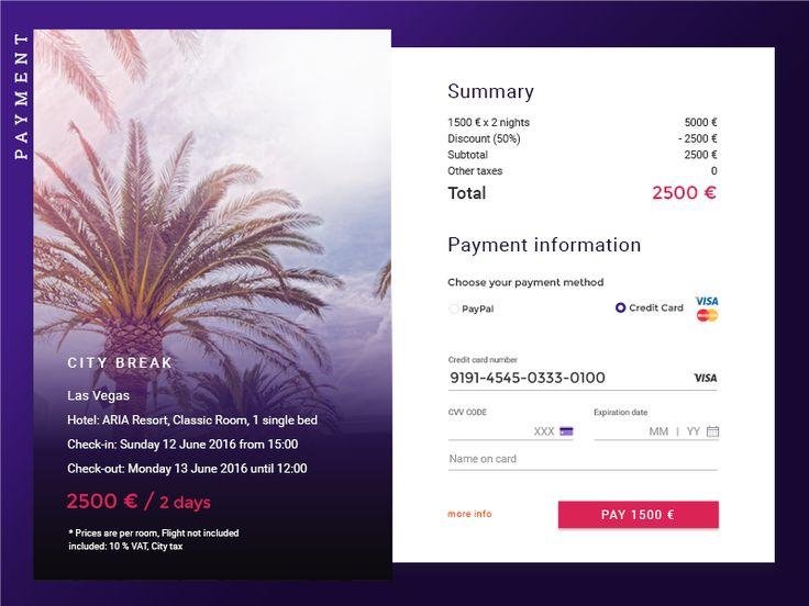 Payment details, checkout   Dark UI