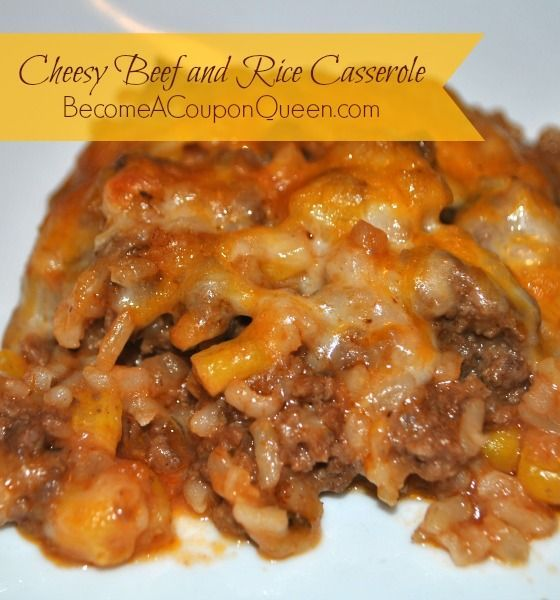 Thanks to couponing, I have a decent stockpile and was able to put this Cheesy Beef and Rice Casserole together.
