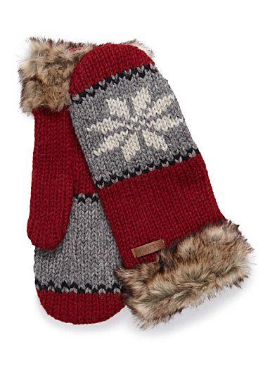 Le look hivernal ultime d'une mitaine au motif jacquard nordique avec poignets façon fourrure Tricot pure laine qui vous gardera bien au chaud Doublure en douce fibre polaire Faite à la main au Népal Tuque coordonnée également disponible