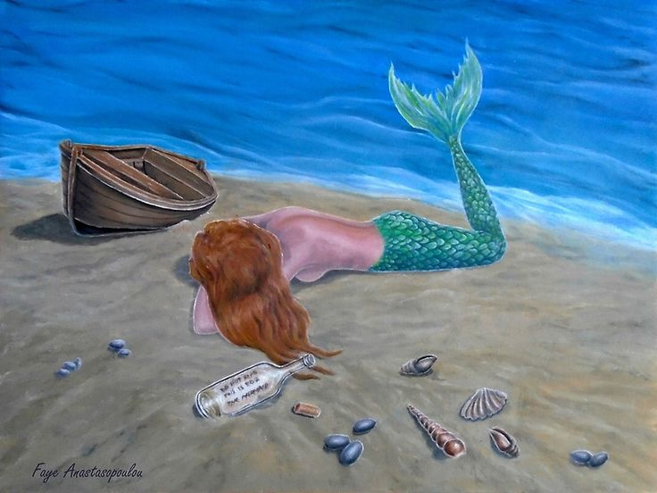 Metal Print, mermaid,painting,coastal,fantasy,scene,aquatic,life,creature,seascape,feminine,nude,big,fish,sandy, beach, wooden, boat, lying, message in a bottle, shells, romantic, aqua, blue, water, mythical, legendary, magical, beautiful,awesome,cool,contemporary,realistic,figurative,fine,oil,wall,art,images,home,office,decor,artwork,modern,items,ideas,for sale,redbubble