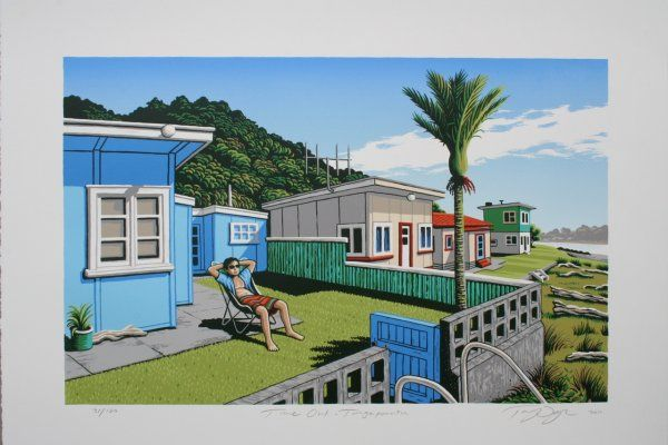 'Time Out Tongaporutu' by Tony Ogle, NZ. Screenprint of lovely NZ beach bach, with man lounging in deckchair. 595NZD. (Nov 2013)