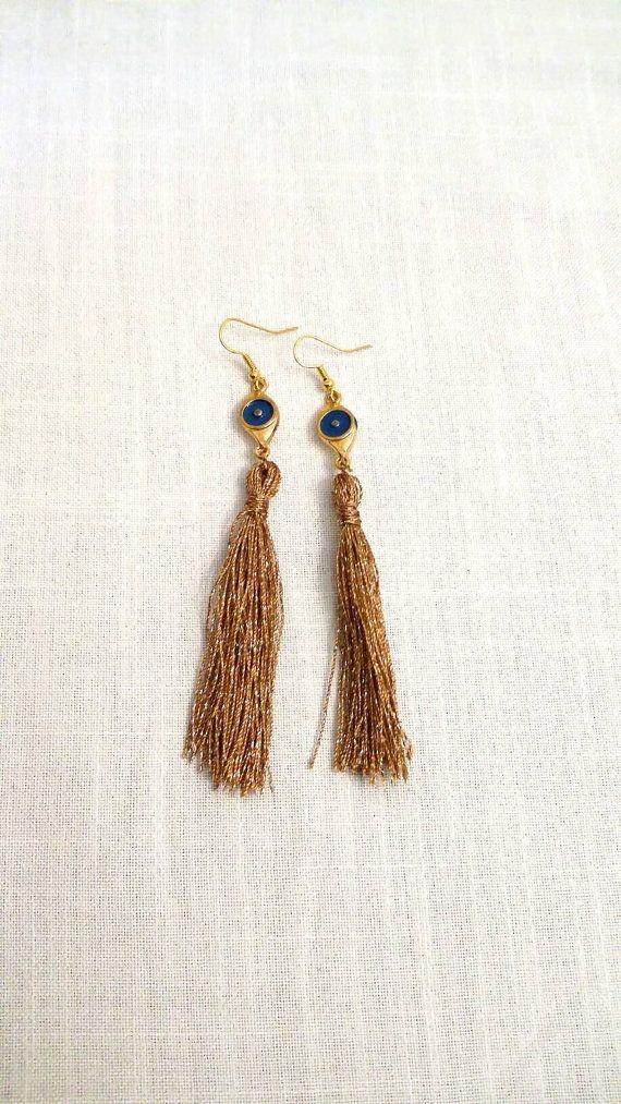 Handmade long tassel earrings/ evil eye/ by KaterinakiJewelry