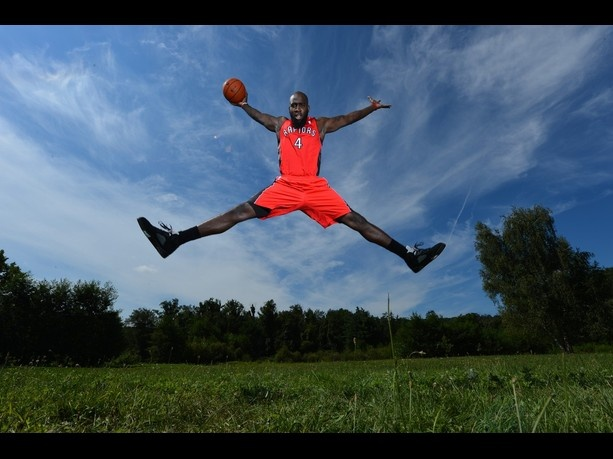 Quincy Acy of the Toronto Raptors poses for a portrait during the 2012 NBA rookie photo shoot on August 21, 2012 at the MSG Training Facility in Tarrytown, New York.