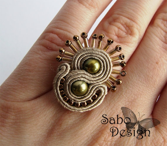 Antique gold soutache ring hand embroidery in dark beige by SaboDesign.