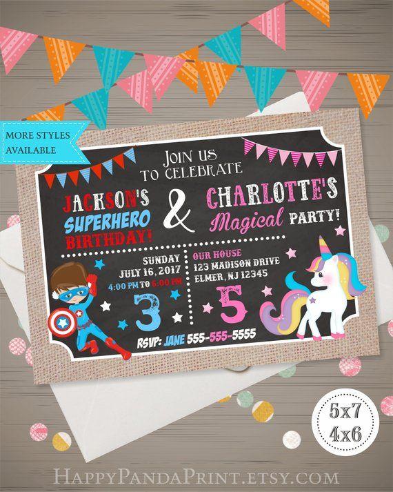 Unicorn Superhero Invitation Joint Birthday Party Sibling