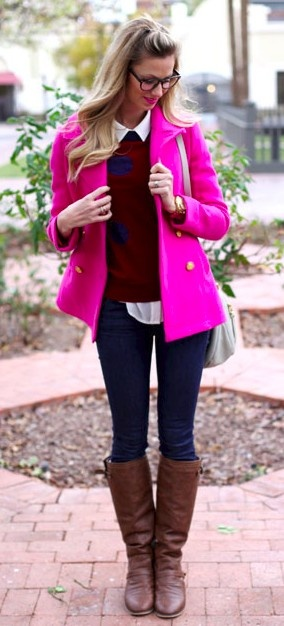 Hot pink coat @Carolyn Wojtkowicz Claybaugh This makes me think of you!