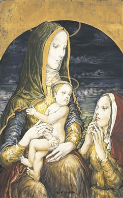 Leonard Foujita. Instead of a traditional Madonna et fils, a friend joins the composition. Maybe Elizabeth, who had her own child jump for joy in her womb?