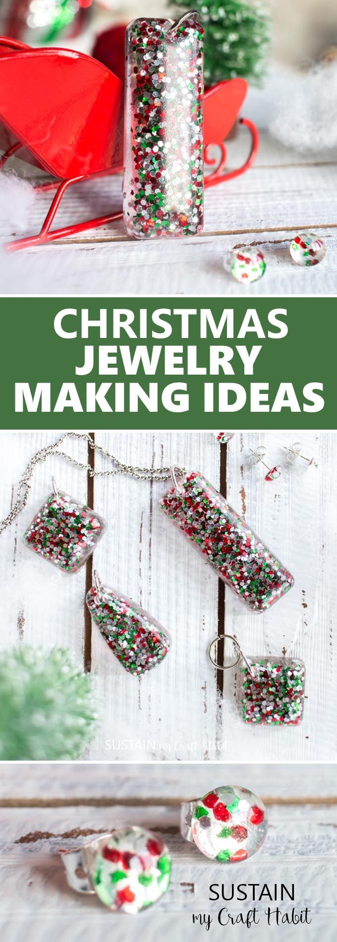 Beautiful handmade Christmas jewelry gift ideas! Resin jewelry making ideas | DIY Christmas earrings gift ideas | How to make resin jewellery #resincrafts #resincraftsblog #diyjewelry via @sustainmycrafth