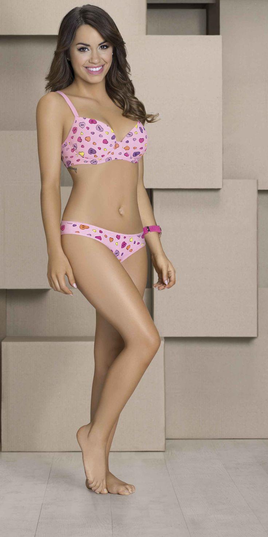 ART.5420 Conjunto taza soft algodón y lycra estampado Candy. Vedetina. C: blanco - rosa - aqua T: 85 / 90 / 95