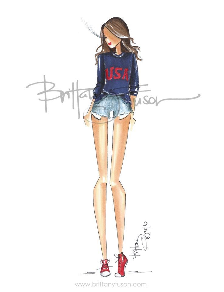 USA | 4th of July | jean shorts | summer style | fashion illustration | Brittany Fuson