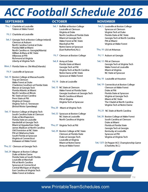 ACC College Football Schedule 2016 Print Here - http://printableteamschedules.com/collegefootball/accfootball.php