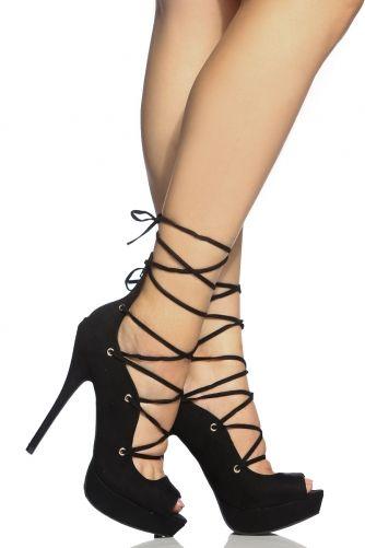Black Faux Suede Peep Toe Platform Lace Up Heels