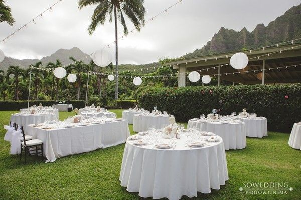 """SoWedding's attention to detail and incredible passion for their craft,"" Alisia said. ""The team truly captured every special moment of our wedding day, and we are so happy to have those memories now and forever."" Venue/Caterer: Moli'i Gardens at Kualoa Ranch Event Planner: Marina Pasion Floral Designer: Watanabe Floral, Inc. Rentals: Pacific Party Rentals"